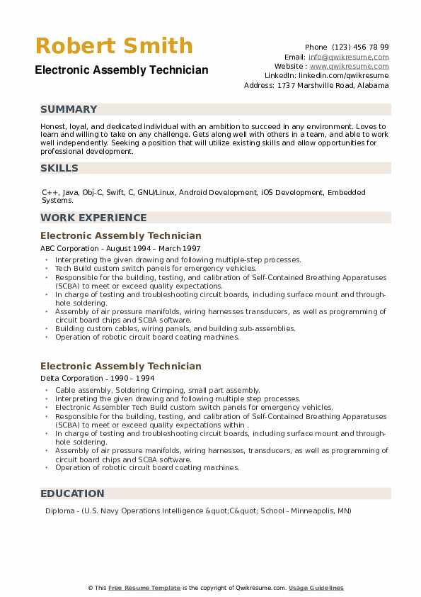 Electronic Assembly Technician Resume example