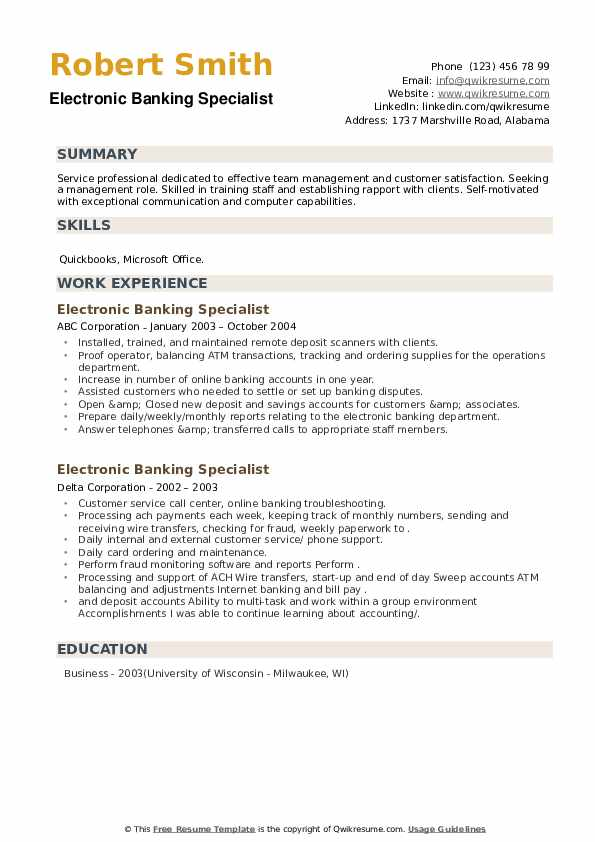 Electronic Banking Specialist Resume example