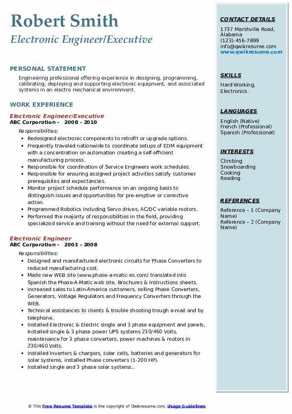 electronic engineer resume samples  qwikresume
