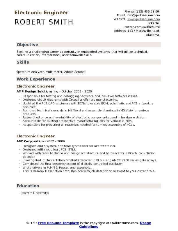 Electronic Engineer Resume example