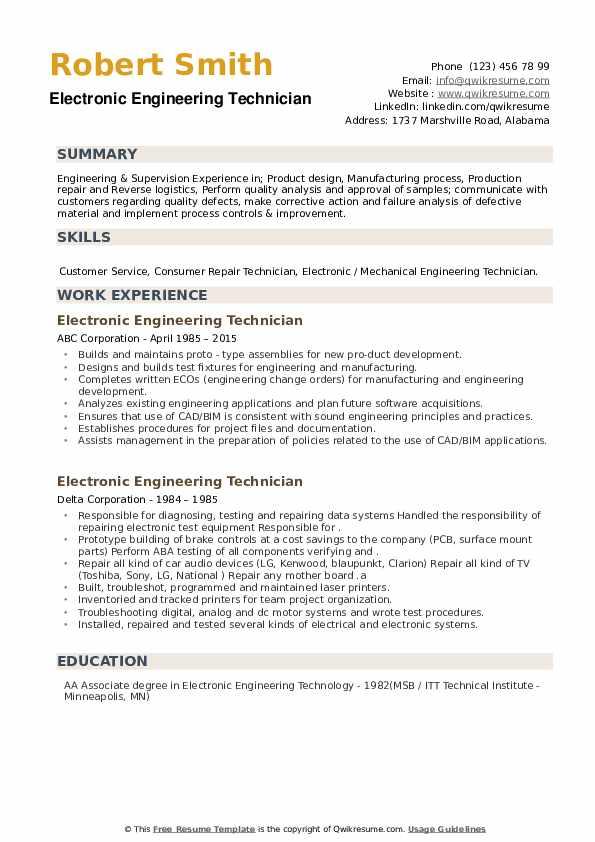 Electronic Engineering Technician Resume example