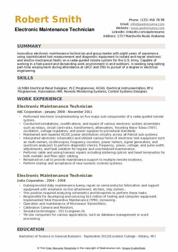 Electronic Maintenance Technician Resume example