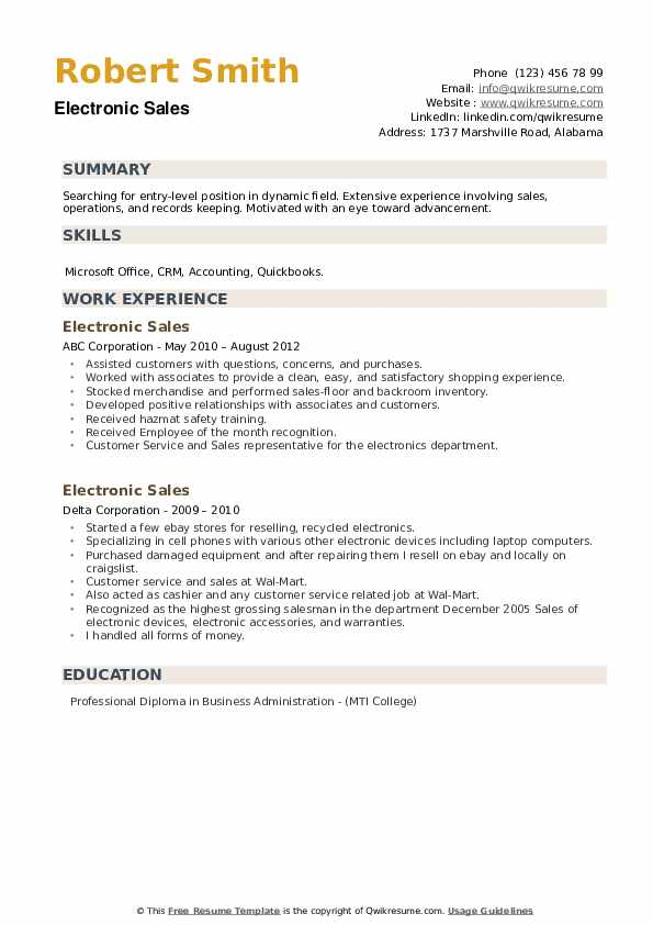 Electronic Sales Resume example