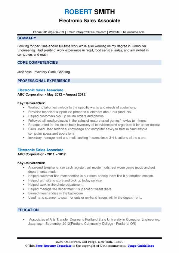 Electronic Sales Associate Resume example