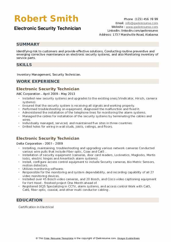 Electronic Security Technician Resume example