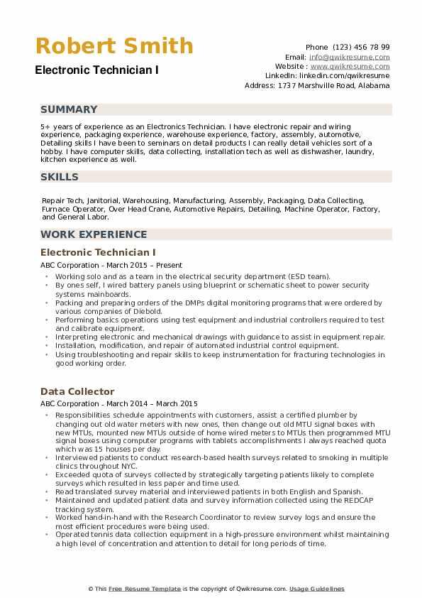 Electronic Technician Resume example