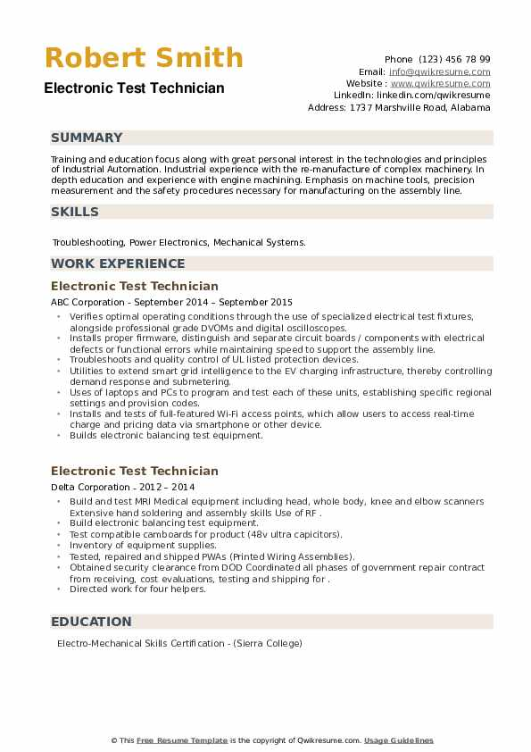Electronic Test Technician Resume example