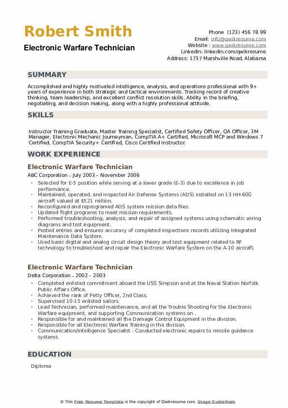 Electronic Warfare Technician Resume example