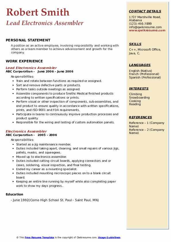 electronics assembler resume samples