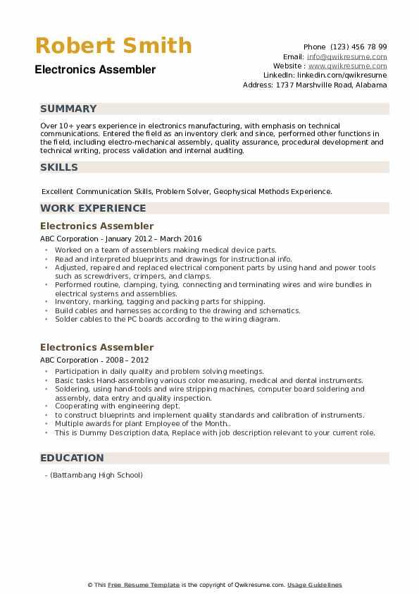 Electronics Assembler Resume example
