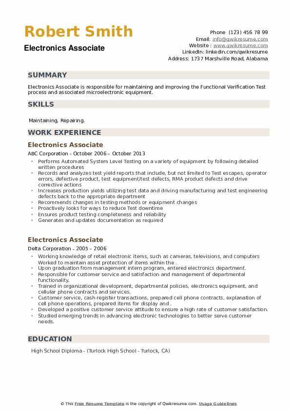 Electronics Associate Resume example