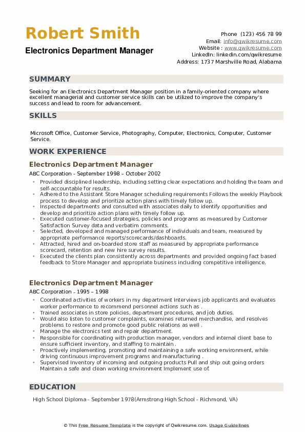 Electronics Department Manager Resume example