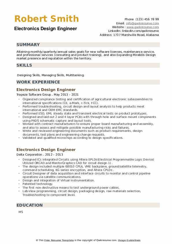 Electronics Design Engineer Resume example