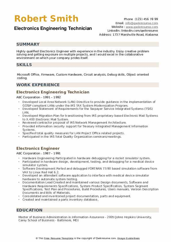Electronics Engineering Technician Resume Sample
