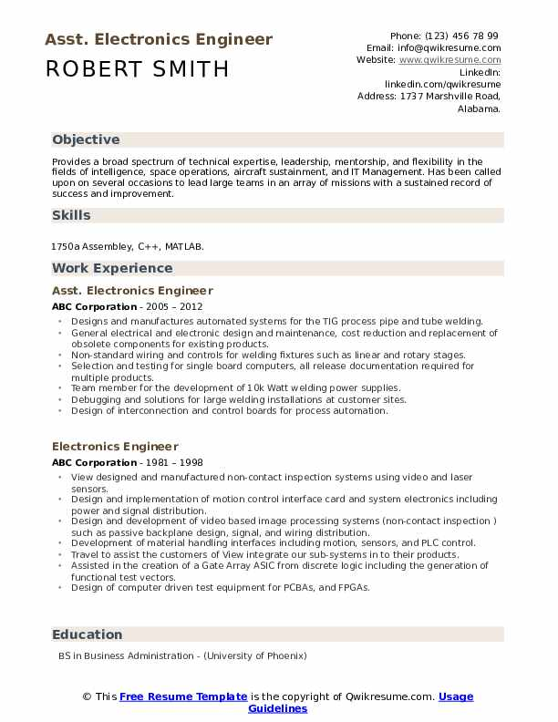 Asst. Electronics Engineer  Resume Example