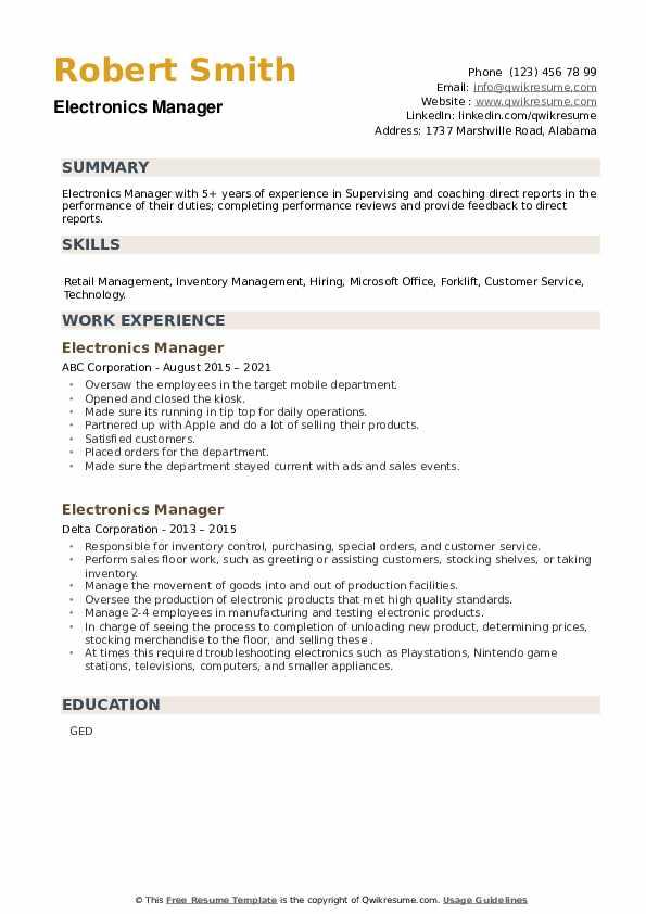 Electronics Manager Resume example
