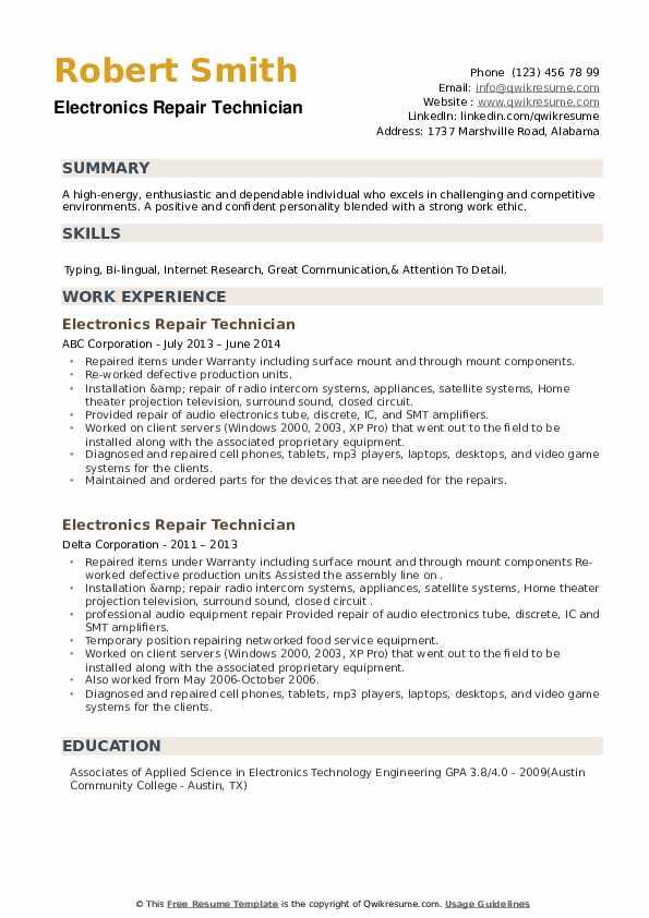 Electronics Repair Technician Resume example