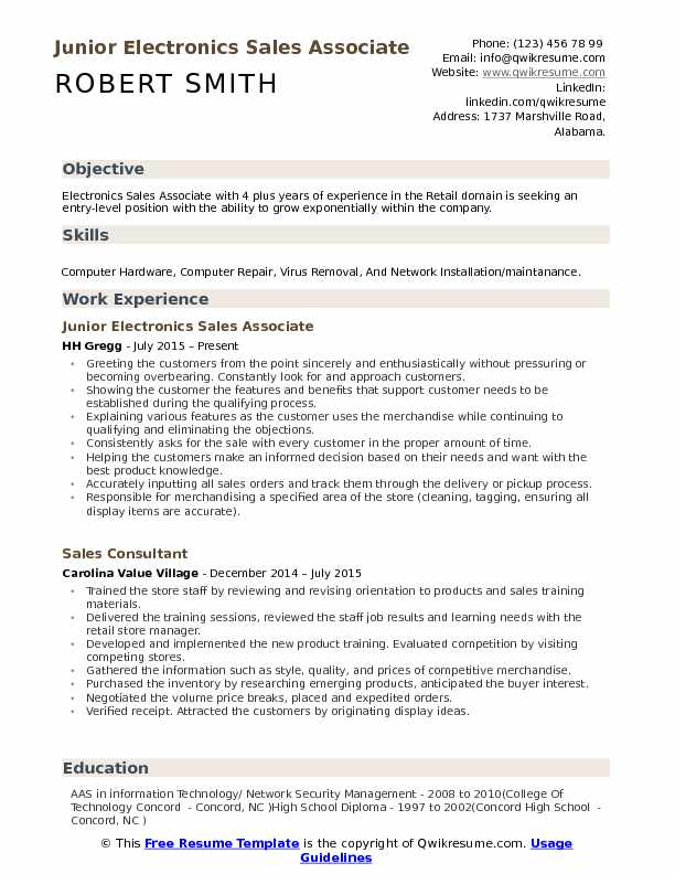 Best buy sales associate resume