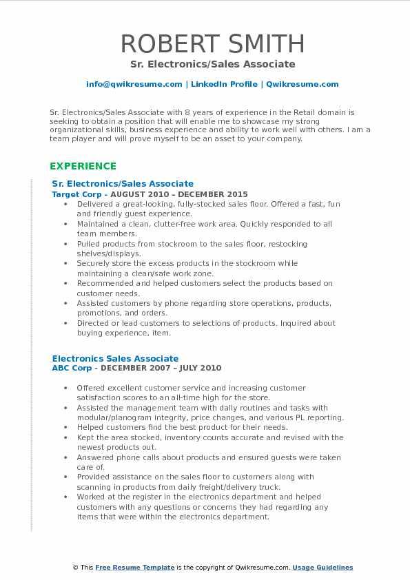 Sr. Electronics/Sales Associate Resume Example