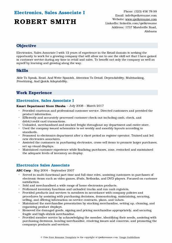 Electronics, Sales Associate I Resume Sample