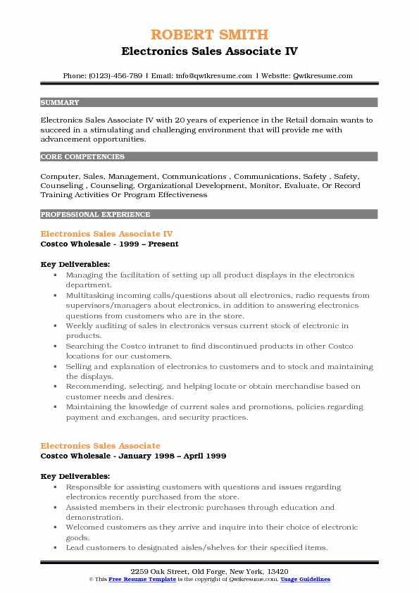 Electronics Sales Associate IV Resume Model