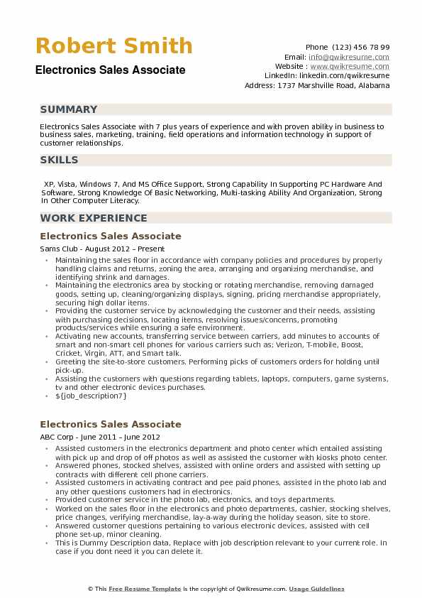 electronics sales associate resume samples qwikresume