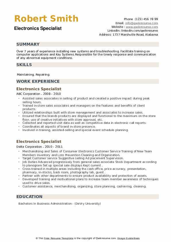 Electronics Specialist Resume example