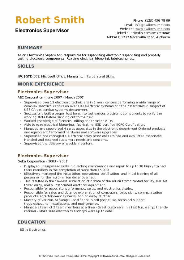 Electronics Supervisor Resume example