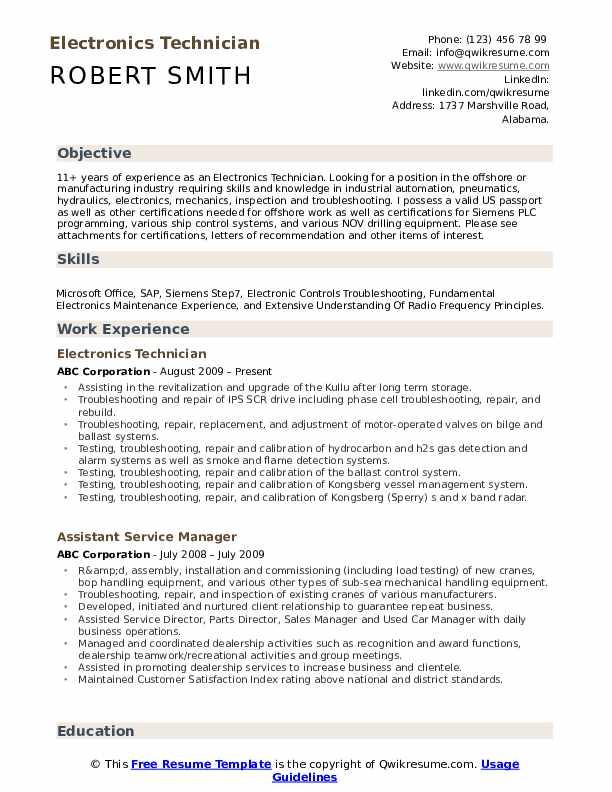 Electronics Technician  Resume Format