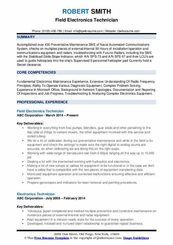 Electronics Technician Resume Samples | QwikResume