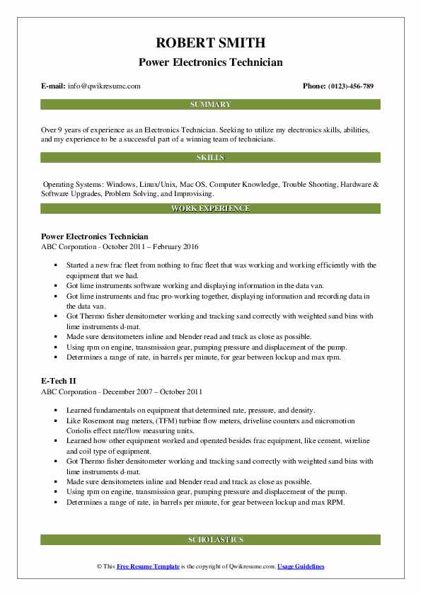 Power Electronics Technician Resume Model