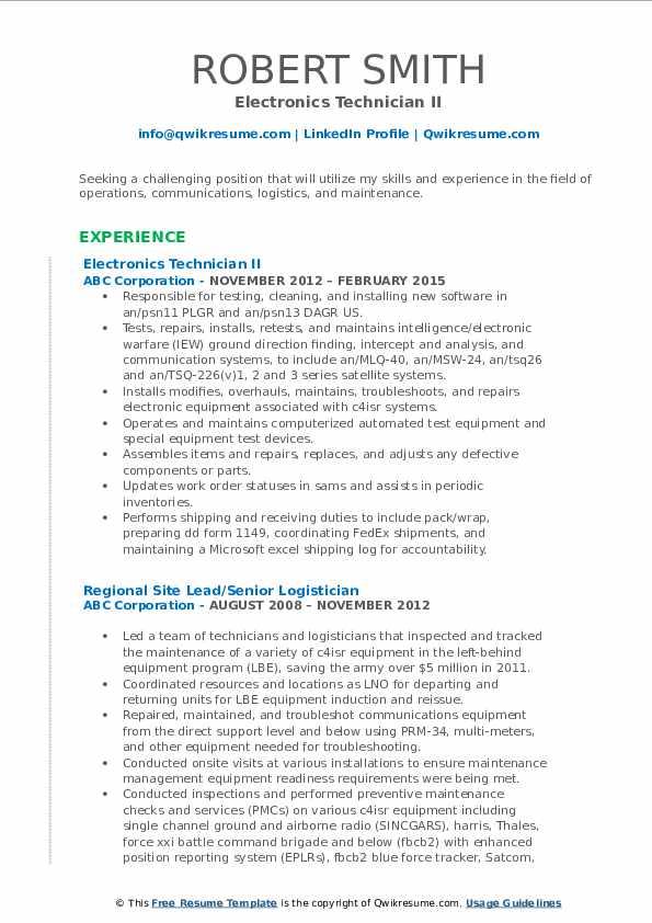 Electronics Technician II Resume Model