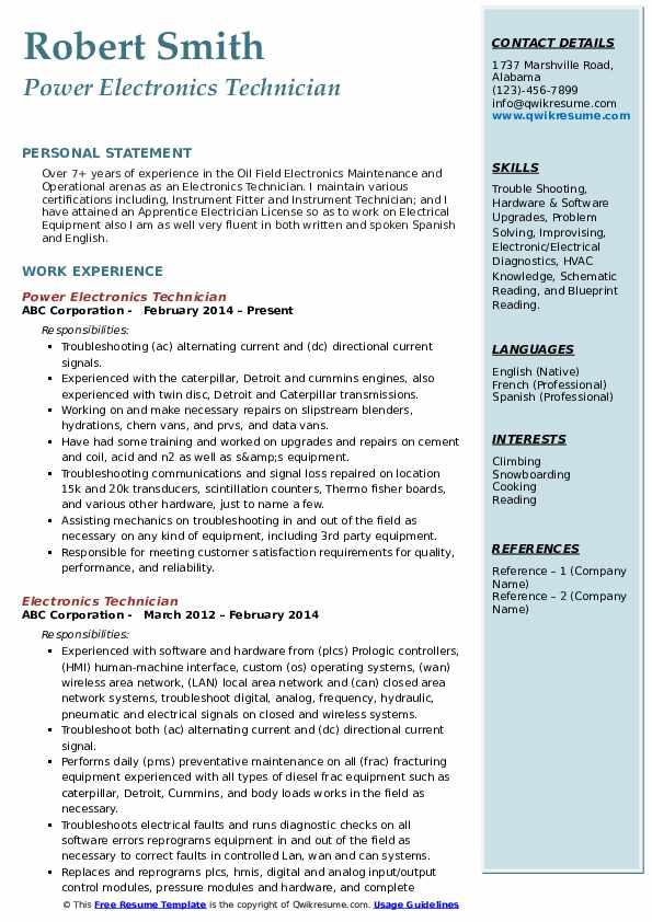 Power Electronics Technician Resume Example