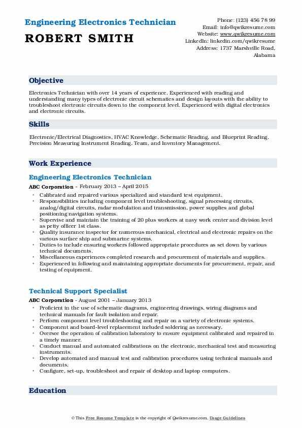 Engineering Electronics Technician  Resume Sample