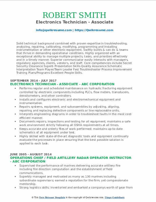 Electronics Technician - Associate Resume Example