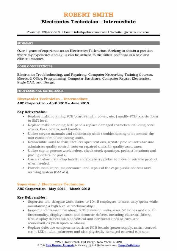 Electronics Technician - Intermediate Resume Model