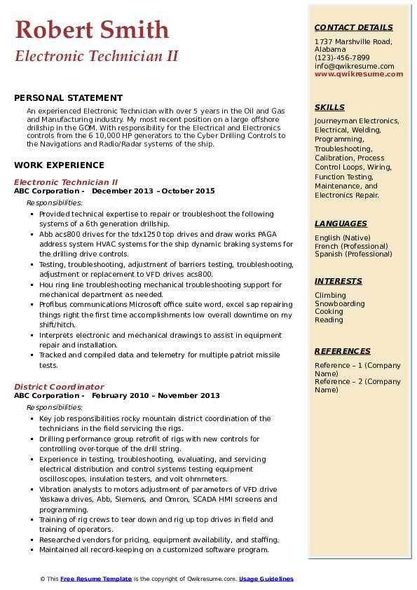 Electronic Technician II Resume Model