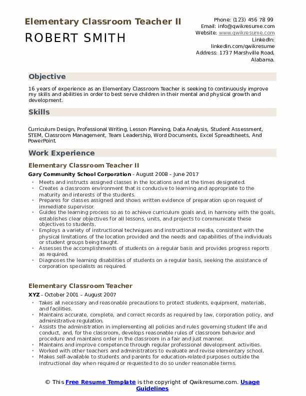 Elementary Classroom Teacher II Resume Sample