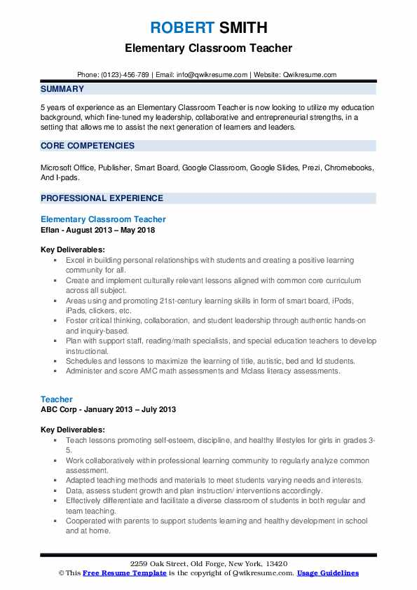 Elementary Classroom Teacher Resume Template