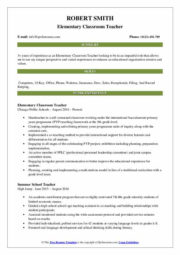 Elementary Classroom Teacher Resume Model