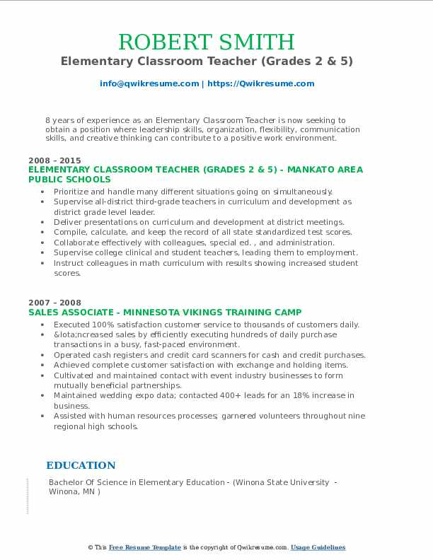 Elementary Classroom Teacher (Grades 2 & 5) Resume Sample