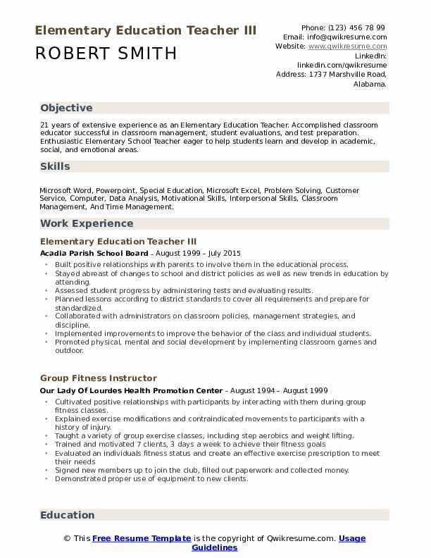 Elementary Education Teacher Resume Samples | QwikResume