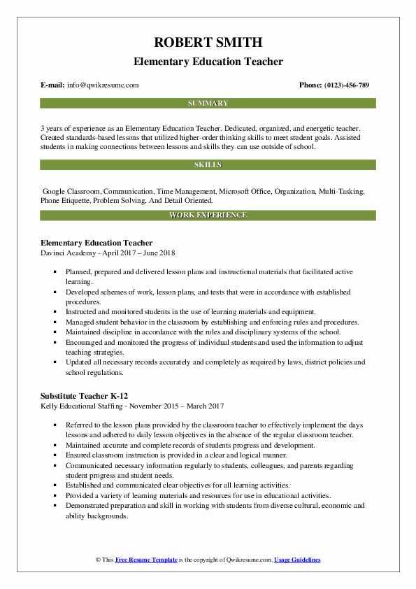 Elementary Education Teacher Resume Format