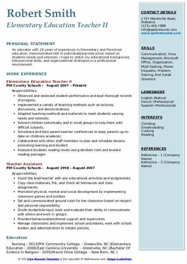 Elementary Education Teacher II Resume Model