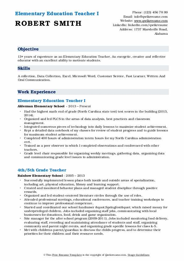Elementary Education Teacher I Resume Format