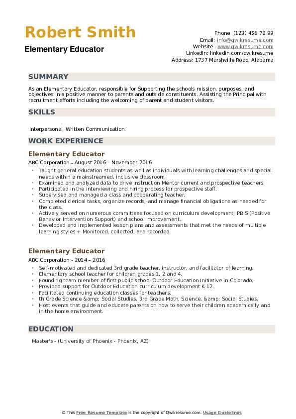 Elementary Educator Resume example