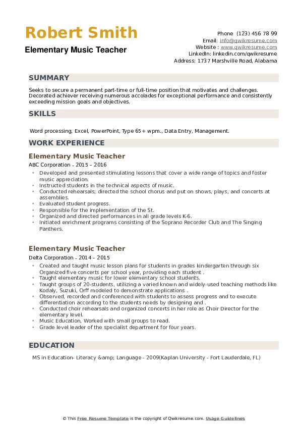 Elementary Music Teacher Resume example