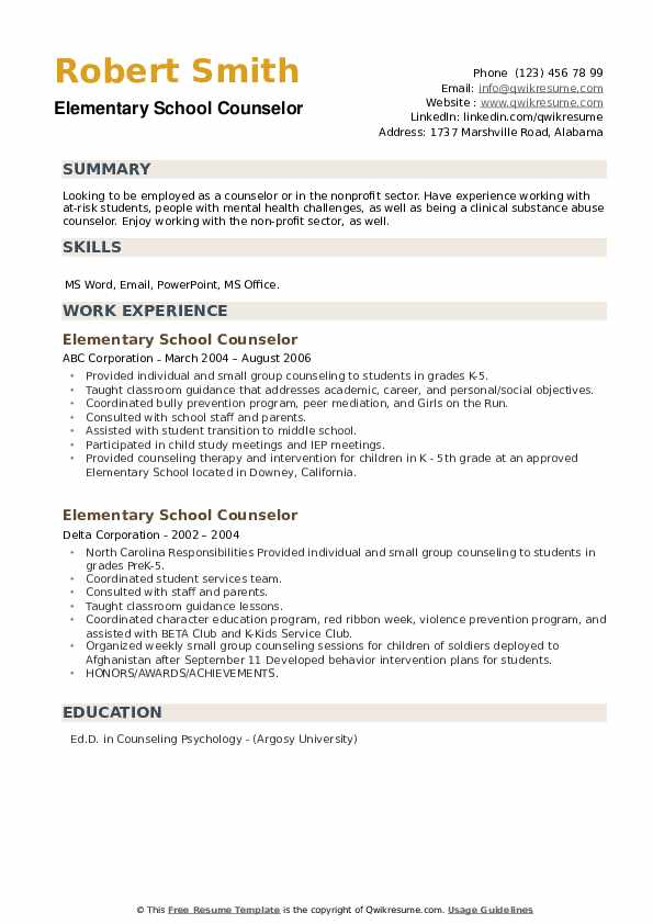 Elementary School Counselor Resume example