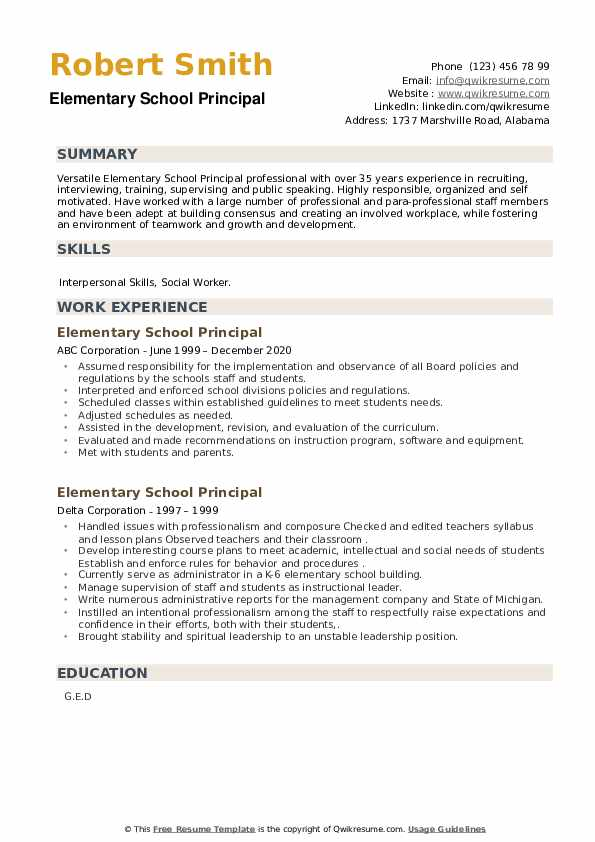 Elementary School Principal Resume example
