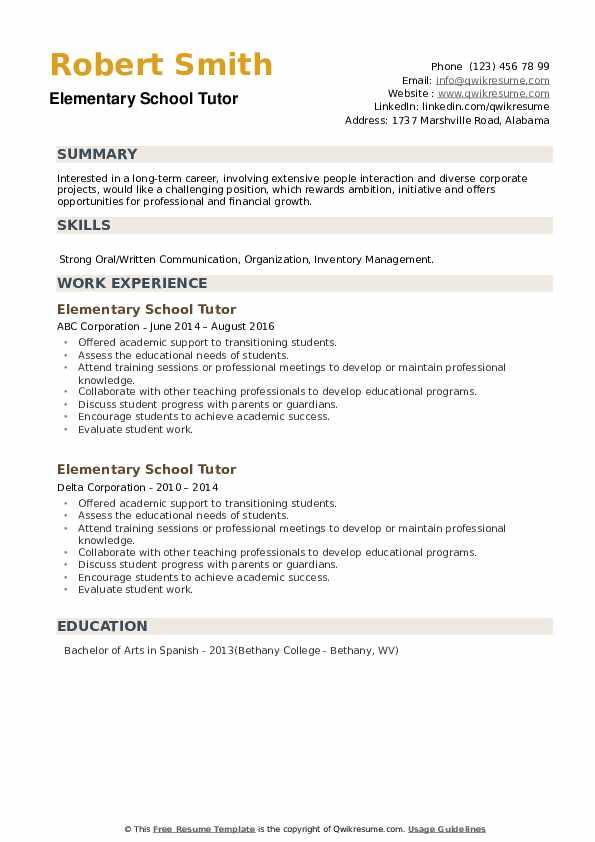 Elementary School Tutor Resume example